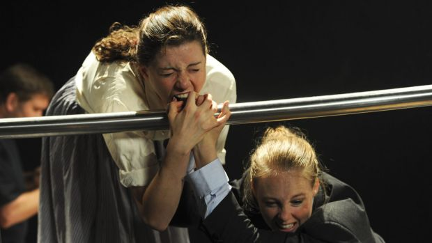 Third year NIDA students Maree Cole (left) and Miranda Daughtry re-enact the famous fight scene from <i>The Godfather</i>.