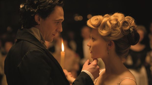 <i>Crimson Peak</i> features Tom Hiddleston and Mia Wasikowska.