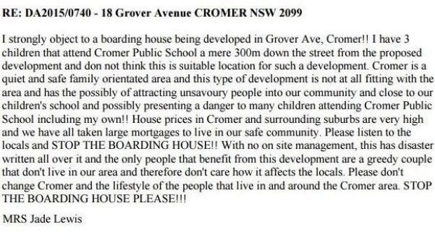 A comment on the Warringah Council website objecting to the proposed development.