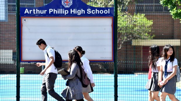 Students from Arthur Phillip High School in Parramatta leaving school on Tuesday.