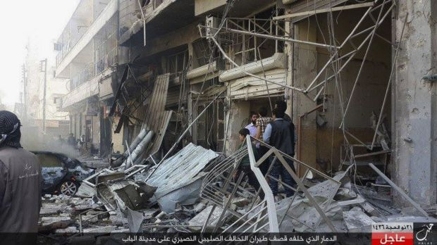 The aftermath of an airstrike in Al-Bab on the outskirts of Aleppo, Syria, late last year.