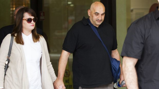 Bouncer Fady Taiba leaves Downing Centre District Court during the trial of James Longworth.