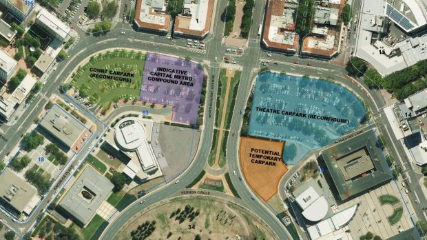 The ACT government's plan for London Circuit car parking, including the tram compound, and the new area behind the ...