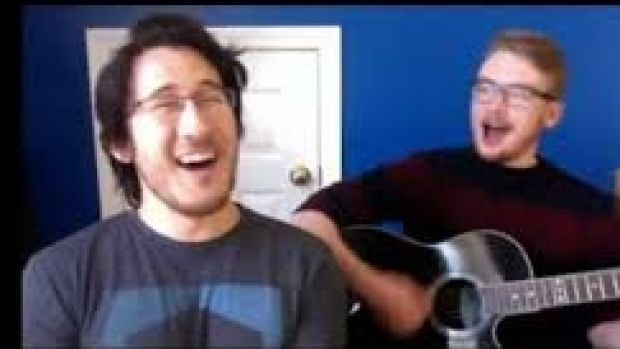 Mark Fuschbach (left), aka Markiplier, with Daniel Kyre.
