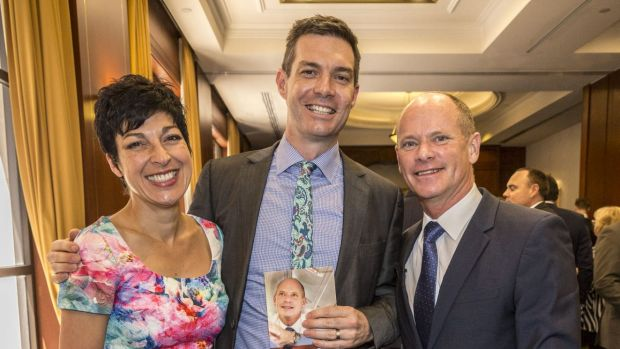 Campbell Newman with his wife Lisa Newman and author Gavin King at the launch of Can Do: Campbell Newman and the ...