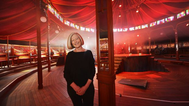 Melbourne Festival artistic director Josephine Ridge in the expanded Spiegeltent on the banks of the Yarra.