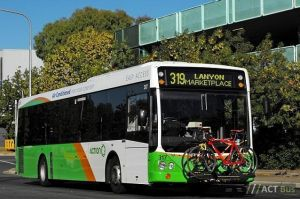 Canberra bus with bike rack. Pic from ACT government