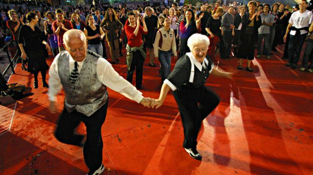 Ron and Margaret Winchester cut a rug during Melbourne Festival's Dancing in the Streets event at Federation Square in 2003.