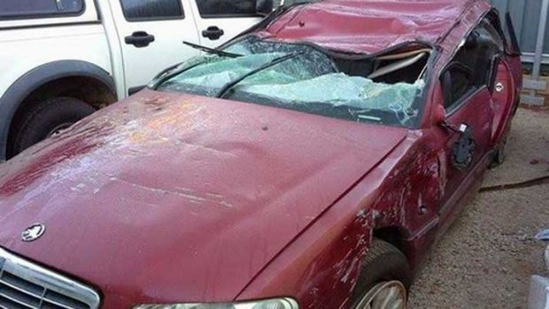 The damage to Ms Richard's car caused by the accident.