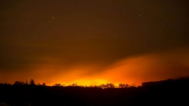 The Lancefield-Cobaw fire on Wednesday night.