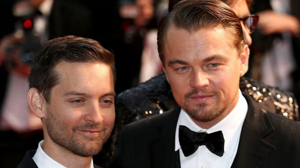 Actors Tobey Maguire and Leonardo DiCaprio.