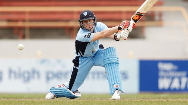 Captain's knock: Steve Smith plays a stroke during the Blues innings.