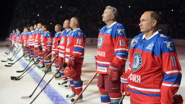 Russian President Vladimir Putin spent his 63rd birthday on the ice, playing hockey in a match that pitted NHL stars ...