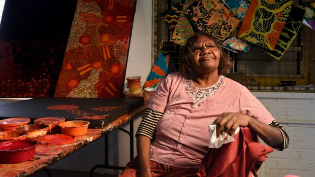 Renita Stanley is one of the artists working at Ernabella Arts centre in South Australia's APY Lands.
