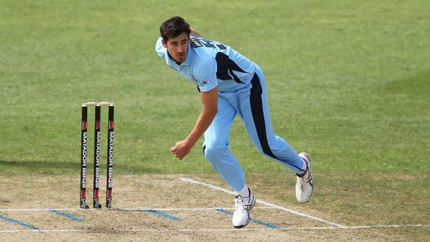 Express delivery: Mitchell Starc bowls during the Matador Cup match between NSW and South Australia at North Sydney Oval.