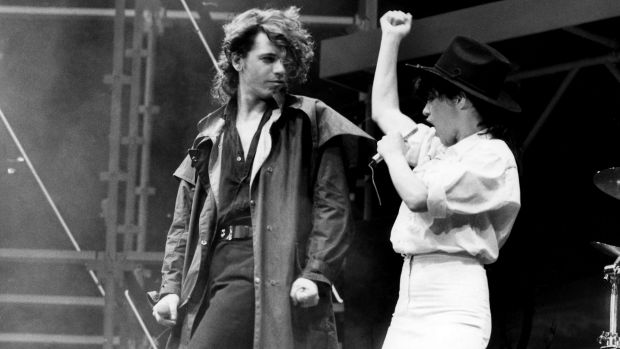 INXS singer Michael Hutchence duets with Jenny Morris at the Countdown Music and Video Awards at the Sydney ...