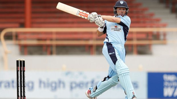 High hopes: Ed Cowan plays a stroke on the leg side during the Matador Cup.
