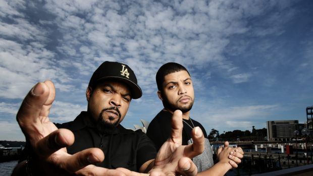 Rapper Ice Cube and his son O'Shea Jackson star in N.W.A. documentary <i>Straight Outta Compton</i>.
