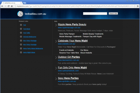 Screen shots from official tedbaillieu.com.au website that now sells hen party packages and weekends in Werribee.