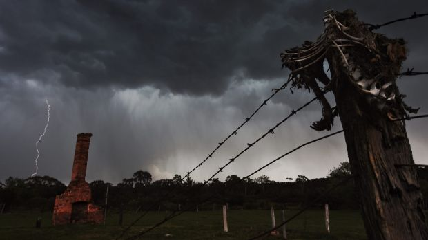 Stormy season: Lightning hammers Hill end in the NSW Central Tablelands on Sunday.