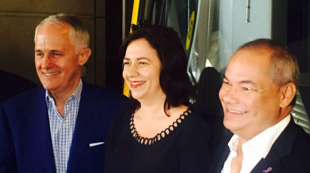 Prime Minister Malcolm Turnbull, Queensland Premier Annastacia Palaszczuk and Gold Coast mayor Tom Tate were all smiles ...