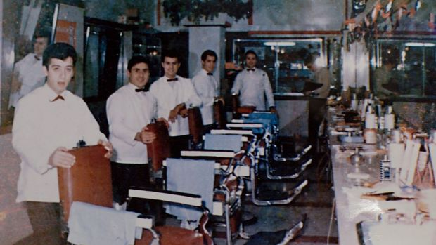 Bow ties and cut-throat razors: Vince's Hair Stylists at Roseland shopping centre in 1965.