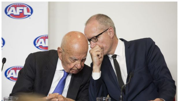 News Corp's Rupert Murdoch (left) and chief executive Robert Thomson (right) at a press conference in August.