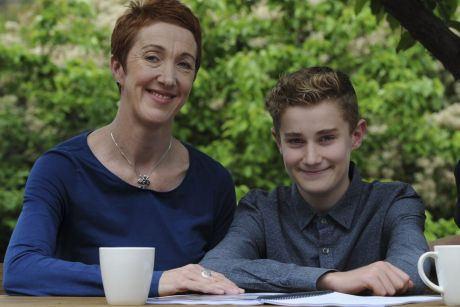Class act: Co-founder of Missing School Inc, Megan Gilmour, left, and her son Darcy, who missed 18 months of school due ...