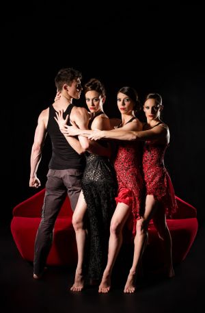 Dancing to their doom, from left, are Jack Ziesing and the three performers representing Carmen: Elise May, Riannon ...