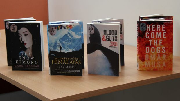 The four books shortlisted for the 2015 ACT Book of the Year - Mark Henshaw's <i>The Snow Kimono</i>, Jono Lineen's ...