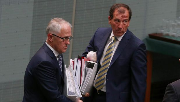 Mr Turnbull leaves question time with  Special Minister of State Mal Brough.