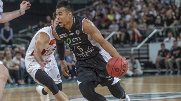 Hard to guard: Melbourne United import Stephen Holt drives into the paint against the Illawarra Hawks at Hisense Arena.