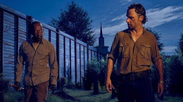 Are you looking at me?: Morgan Jones (Lennie James) and Rick (Andrew Lincoln) patrol Alexandria.