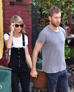 Taylor Swift and Calvin Harris leave Spotted Pig restaurant in New York City on May 28.