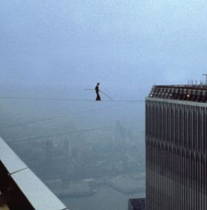 The real thing: Petit walks between the Twin Towers in 1974.