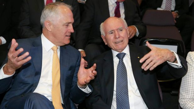 Mutual admiration: Mr Turnbull with former prime minister John Howard during the launch of the John Howard Walk of ...