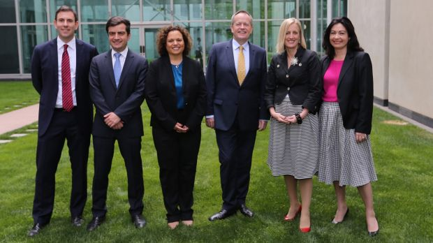 Bill Shorten with his shadow ministerial appointments; Jim Chalmers, Senator Sam Dastyari, Michelle Rowland, Senator ...