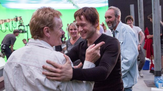 Aerialist Philippe Petit with Joseph Gordon-Levitt, who plays him, on the set of <i>The Walk</i>.