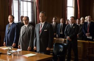 Tom Hanks is Brooklyn lawyer James Donovan, front right,  Mark Rylance is Rudolf Abel, and Billy Magnussen is Doug ...
