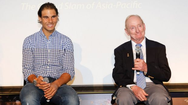 Rafael Nadal and tennis legend Rod Laver attend the Australian Open 2016 launch in Shanghai on Tuesday.