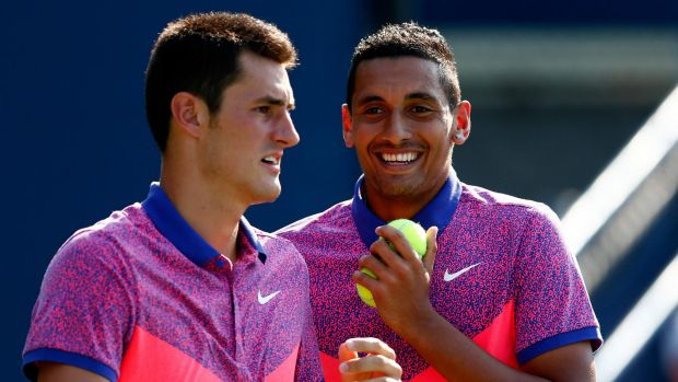 Bernard Tomic (left) and NIck Kyrgios  are both ineligible for this year's John Newcombe medal.
