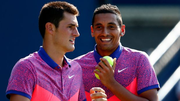 Double trouble: Bernard Tomic (left) and Nick Kyrgios are ready to be a grand slam force in 2016.