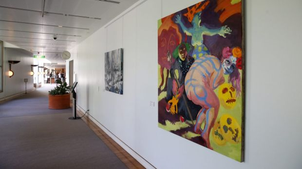 The artwork on display inside Parliament House.