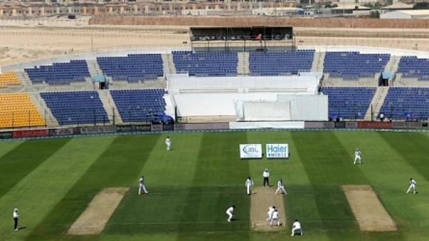 Room to move: 54 people attend the England vs Pakistan Test match in Abu Dhabi.