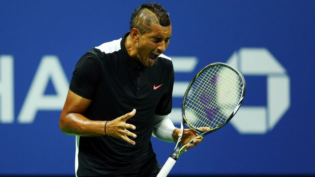 Kyrgios at the 2016 US Open. He retired in the third round with a hip injury.
