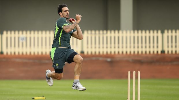 Flame reignited: Mitchell Johnson at the Australian training camp at Hurstville Oval on Wednesday.