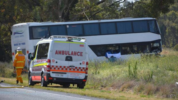 The scene of the bus crash on the Mitchell Highway near Dubbo.