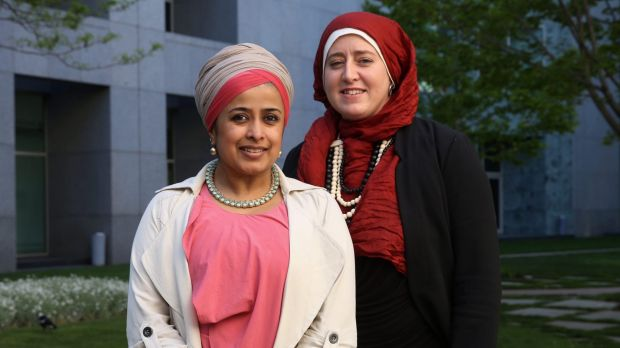 Tasneem Chopra (left) and Monique Toohey at Parliament House on Wednesday.
