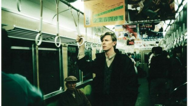 David Bowie casually rides the subway in Japan in 1979.