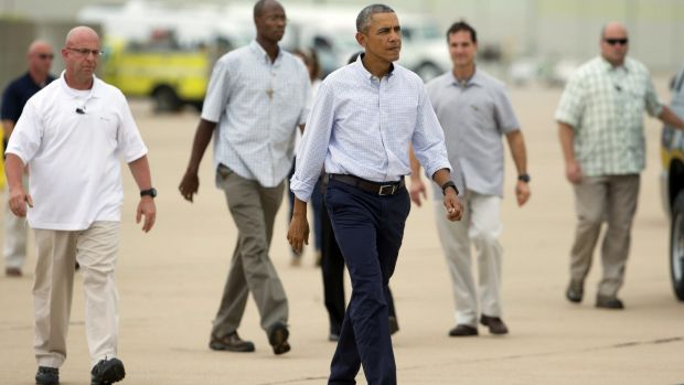 African intervention: US President Barack Obama ready to board Air Force One in California on Monday.